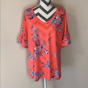 A.N.A. Woman's Ruffle Sleeve Floral Top Size 0X